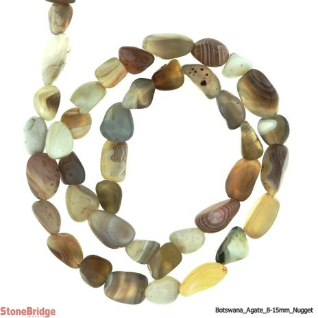"Botswana Agate - Nugget Bead 15"" strand - 8 to 15mm"