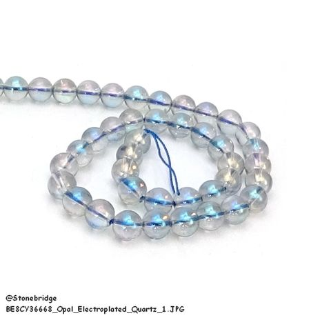 "Clear Quartz - Opal Electroplated - Round Bead 15"" strand - 8mm"