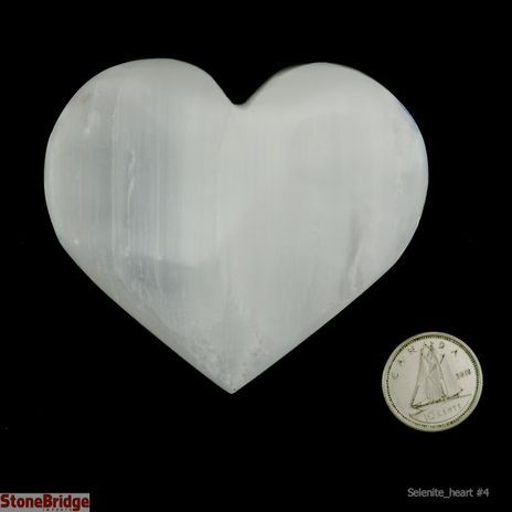 "Selenite Puffy Heart - Size #4 - 1 3/4"" to 2 3/4"""
