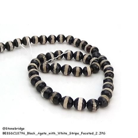 """Black Agate with white stripe Faceted - Round Bead 15"""" strand - 10mm"""