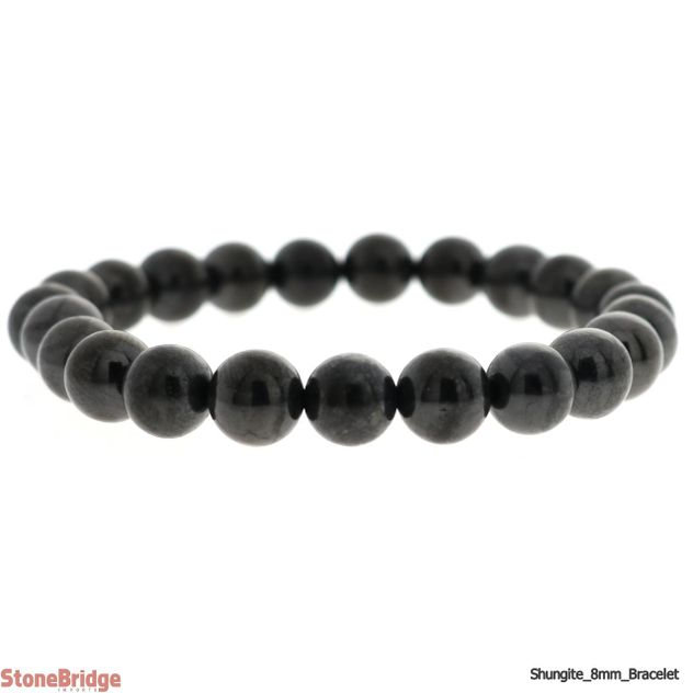 Shungite 8mm Round Bead Stretch Bracelet