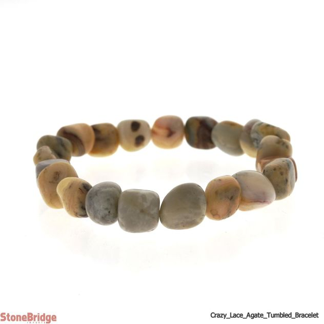 Crazy Lace Agate Tumbled Bead Stretch Bracelet