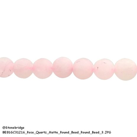"Rose Quartz Matte - Round Bead 15"" strand - 6mm"