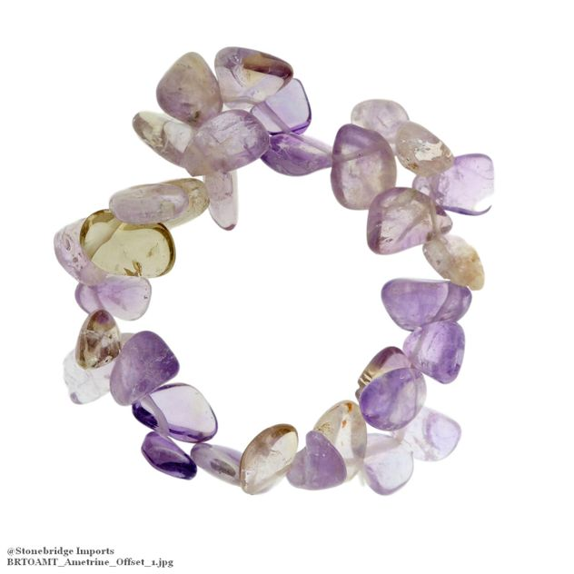 Ametrine Tumbled Offset Bead Stretch Bracelet