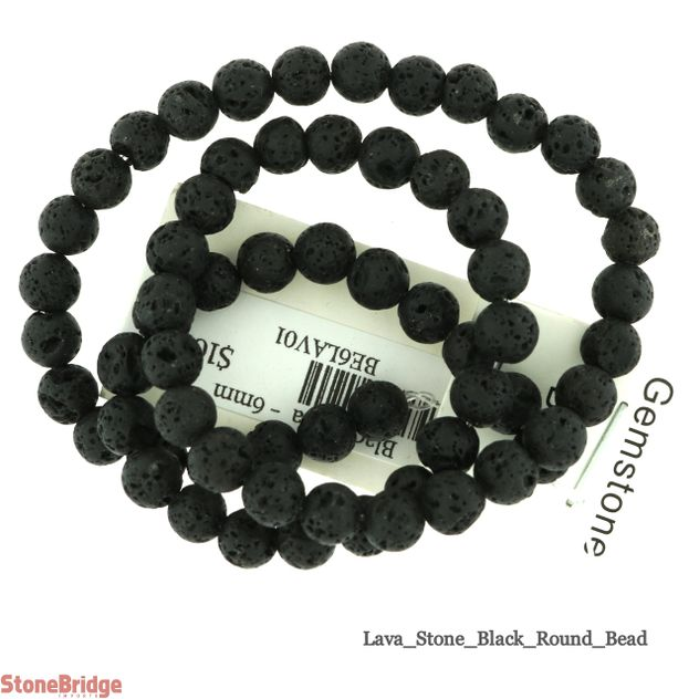 "Black Lava - Round Bead 15"" strand - 6mm"