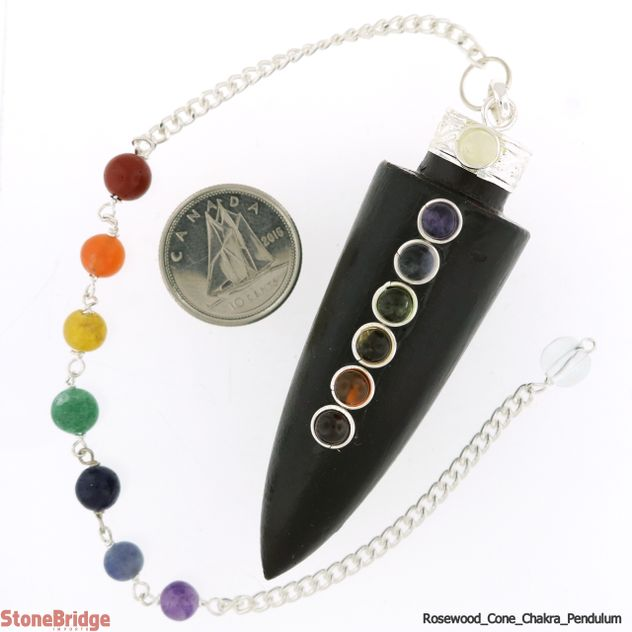Long Cone Chakra Rosewood Pendulum with Chakra Beads on Chain
