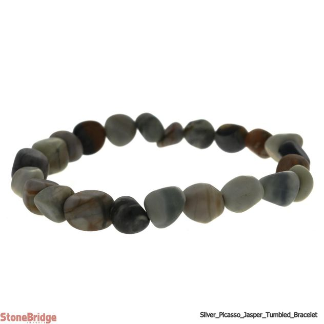 Silver Picasso Jasper Tumbled Bead Stretch Bracelet