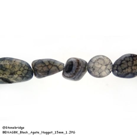 """Black Agate - Nugget Bead 15"""" strand - 8 to 15mm"""