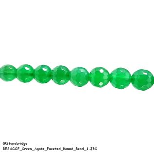 "Green Agate Faceted - Round Bead 15"" strand - 6mm"