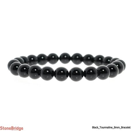 Black Tourmaline Round Bead Stretch Bracelet