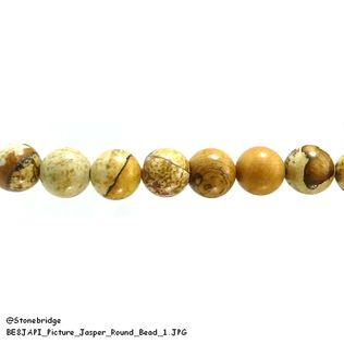 "Picture Jasper - Round Bead 15"" strand - 10mm"