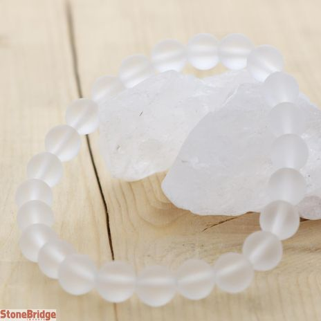 Clear Quartz Matte Round Bead Stretch Bracelet