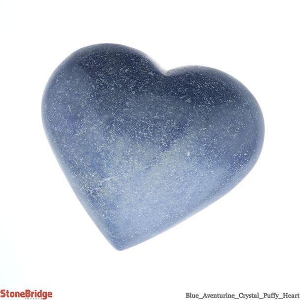 """Blue Aventurine Crystal Puffy Heart - Size #8 -2 1/2"""" to 4"""""""