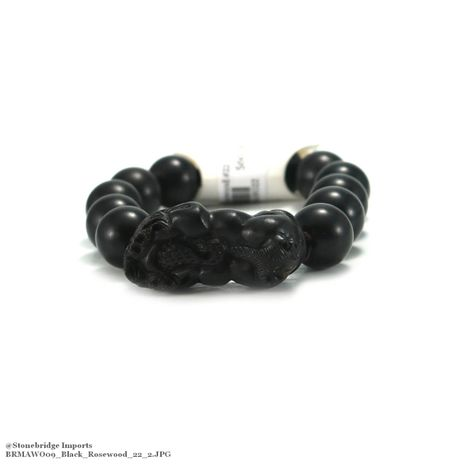Black Rosewood with Charm Mala Bracelet - 15mm -#22
