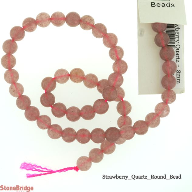 Strawberry Quartz - Round Bead 15""