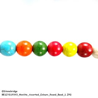 Howlite - Assorted Colours - Round Bead