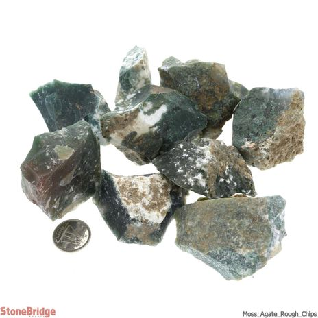 Moss Agate Rough Chips 500g - LG