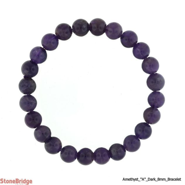 Amethyst A Dark Purple Round Bead Stretch Bracelet