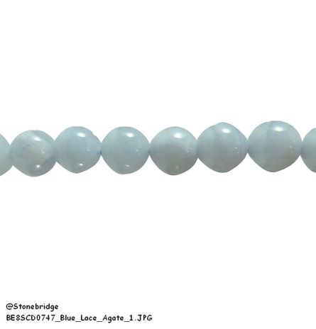 "Blue Lace Agate - Round Bead 7"" strand - 12mm"