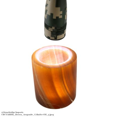 "Brown Aragonite Cylinder Candle Holder - 2 1/2"" high"