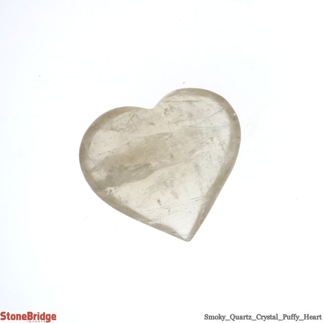 "Smoky Quartz Crystal Puffy Heart - Size #3 - 1 1/2"" to 2 1/2"""
