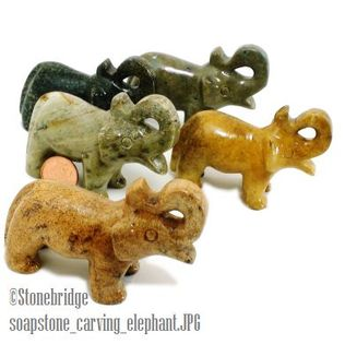 Elephant Soapstone Carving Varnished