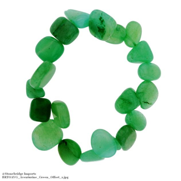 Aventurine Green Tumbled Offset Bead Stretch Bracelet