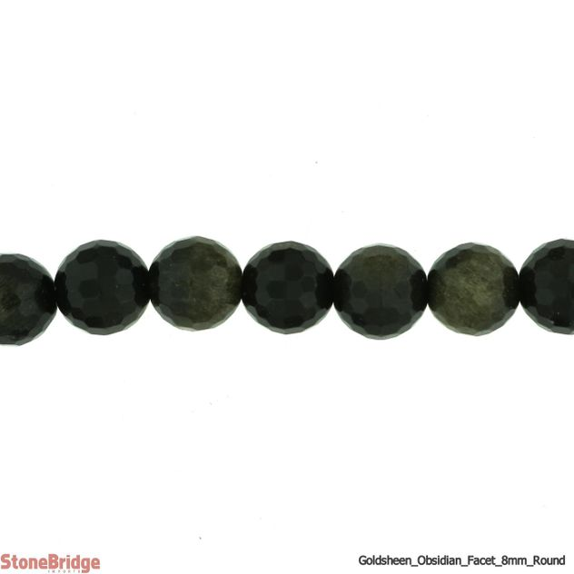 "Obsidian Gold Sheen Faceted - Round Bead 15"" strand - 6mm"