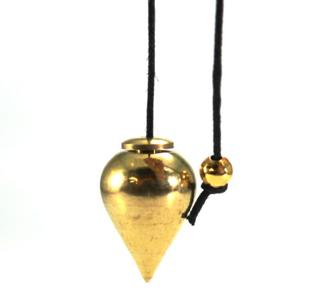 Metal Pendulum - Gold Colour Drop with Cord - 3/4""