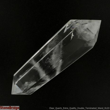 "Clear Quartz Double Terminated Wand - Extra Quality - XLG3 - 3 3/4"" to 4 1/2"""