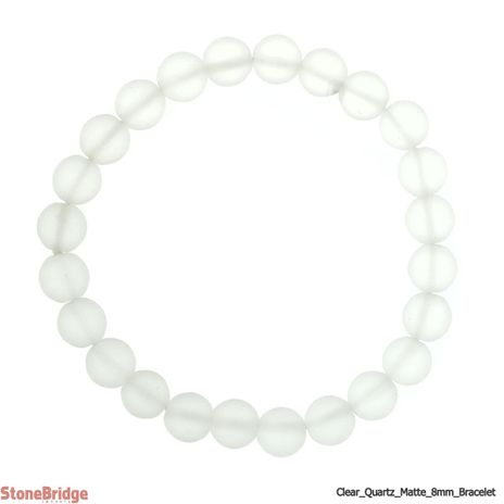 Clear Quartz Matte Round Bead Stretch Bracelet - 8mm