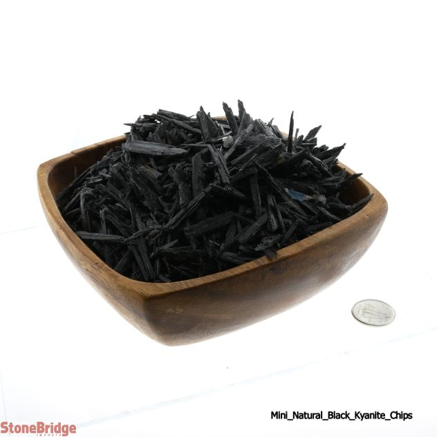 "Crushed Black Kyanite Crystal Blade Chips ""Mini"" 500g Bag"