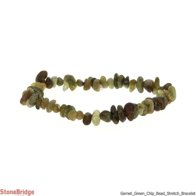 Garnet Green Chip Bead Stretch Bracelet
