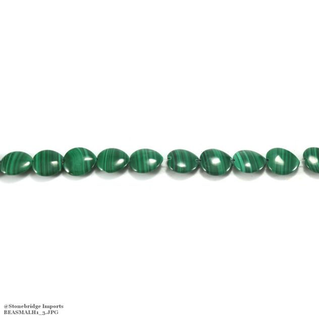 "Malachite - Heart Bead 16"" strand - 15mm"