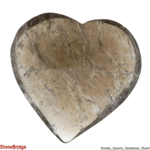"Smoky Quartz Crystal Heart - Size #2 - 40 mm (1"" to 2"")"
