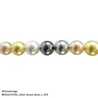 "Shell - Round Bead 15"" strand - 10mm"
