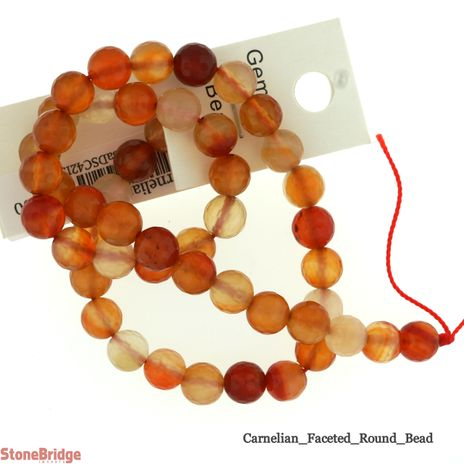 Carnelian Faceted - Round Bead 15""