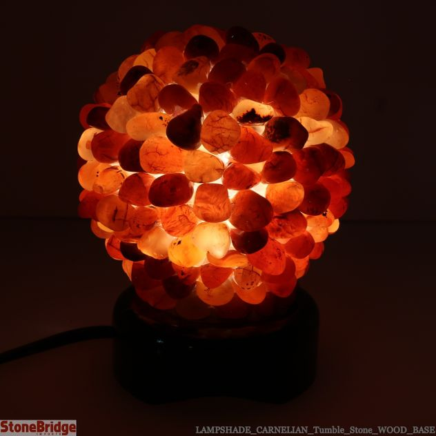 Carnelian Tumble Stone lamp on Wood Base #01 - 5""