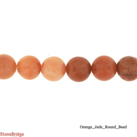 Orange Jade - Round Bead 15""