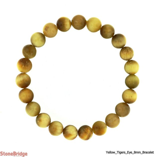 Gold Tiger Eye Round Bead Stretch Bracelet