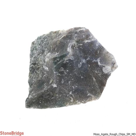 Moss Agate Rough Chips SM/MD 500g bag
