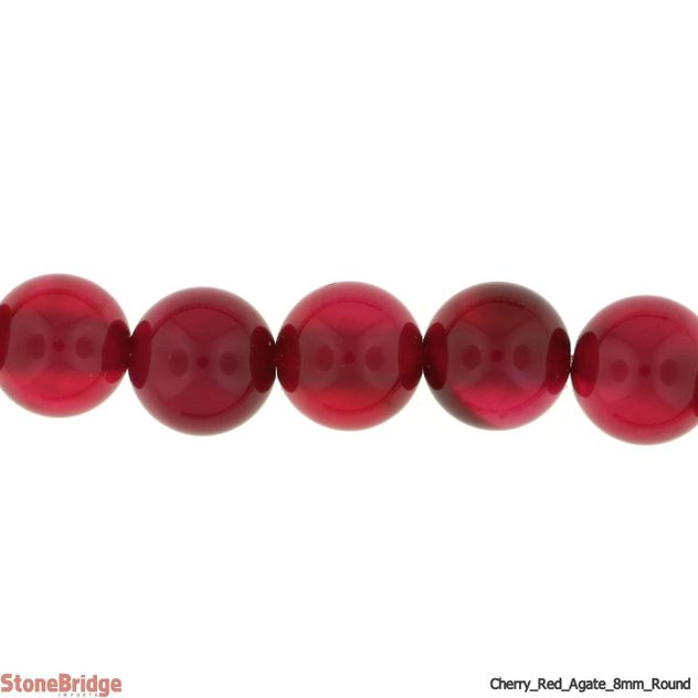 "Cherry Red Agate - Round Bead 15"" strand - 10mm"