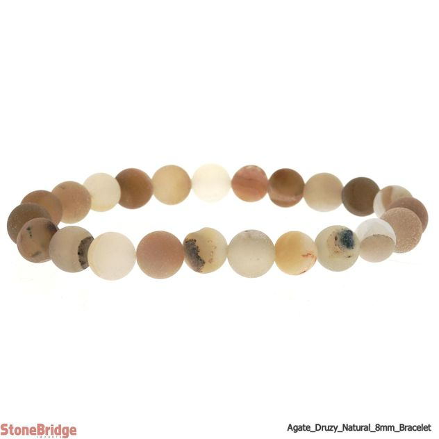 Druzy Agate Natural (6) Matte Round Bead Stretch Bracelet - 8mm