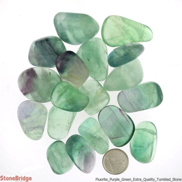 "Fluorite Purple/Green Tumbled Stone ""Extra Quality"""