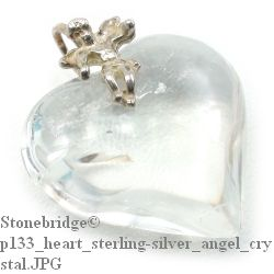 Crystal Quartz Heart With Angel - Silver Pendant (P133CR)