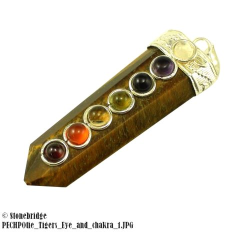 Tiger's Eye Point with Chakra Stones Pendant