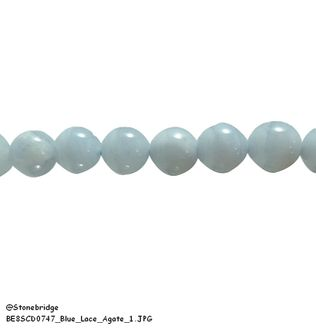 "Blue Lace Agate - Round Bead 7"" strand - 6mm"