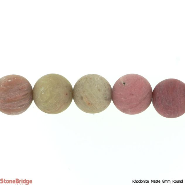"Rhodonite Matte - Round Bead 15"" strand - 6mm"