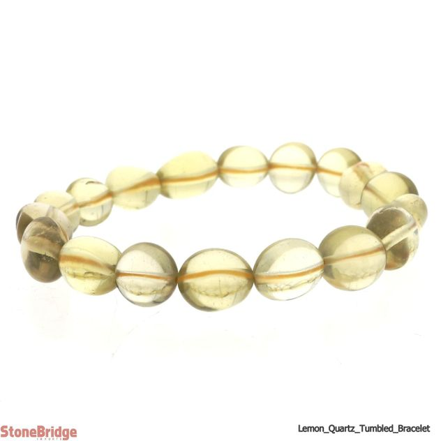 Lemon Quartz Tumbled Bead Stretch Bracelet
