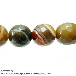 Brown Agate Faceted - Round Bead